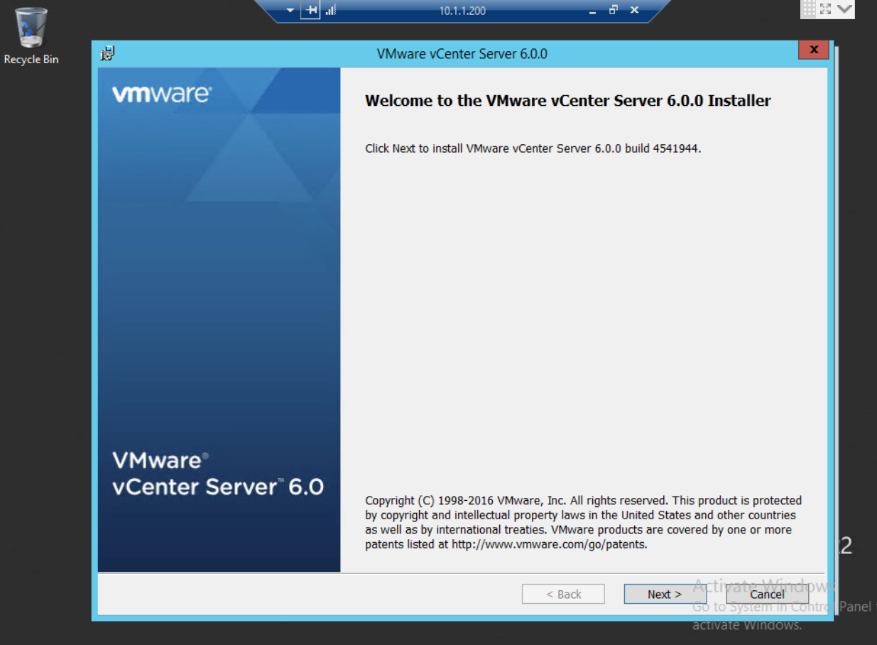 Implementation of vCenter Server (All-in-one Configuration